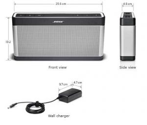 Bose Soundlink 3 enceinte bluetooth dimensions