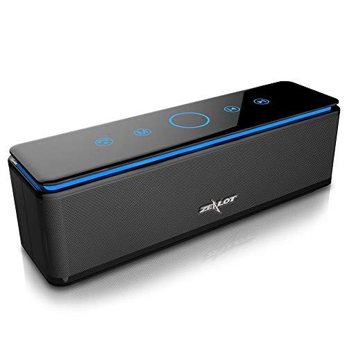 Enceinte Bluetooth Portable, 10000mAh Powerbank 26W Speaker Bluetooth 5.0 4 Haut-Parleurs 24 Heures d'Autonomie Subwoofer Basses Puissantes Contrôle Tactile, IPX5/AUX/Micro Carte SD/Microphone, Noir